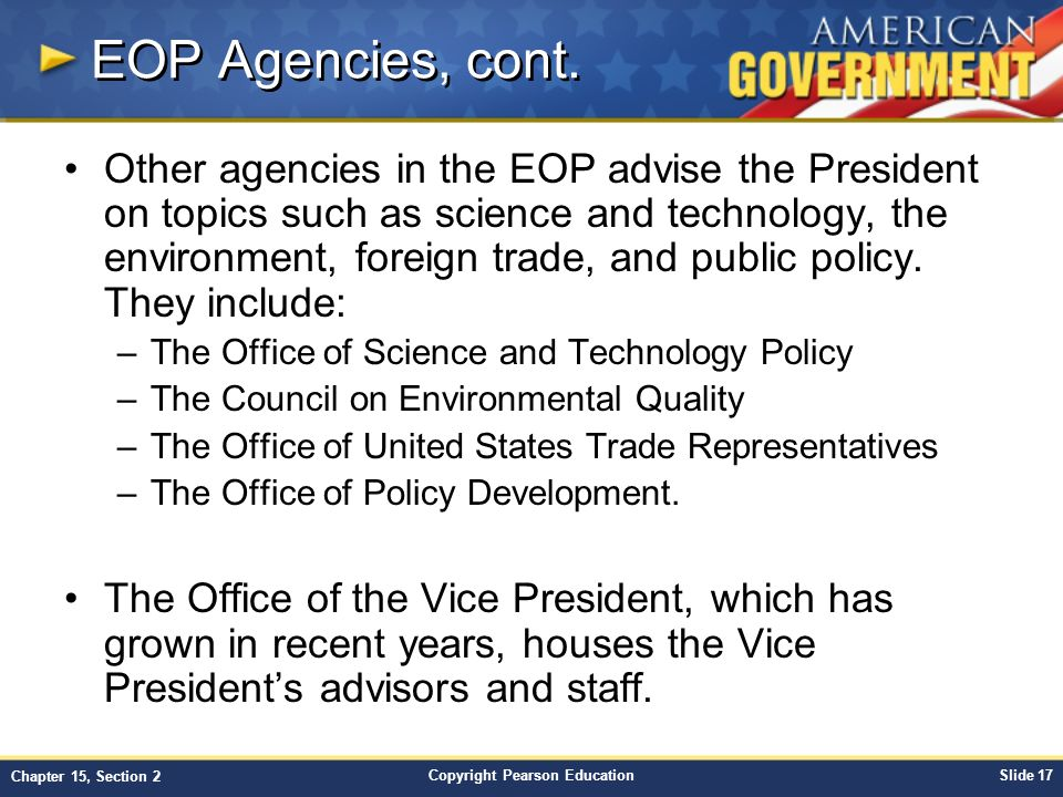 EOP Agencies, cont.
