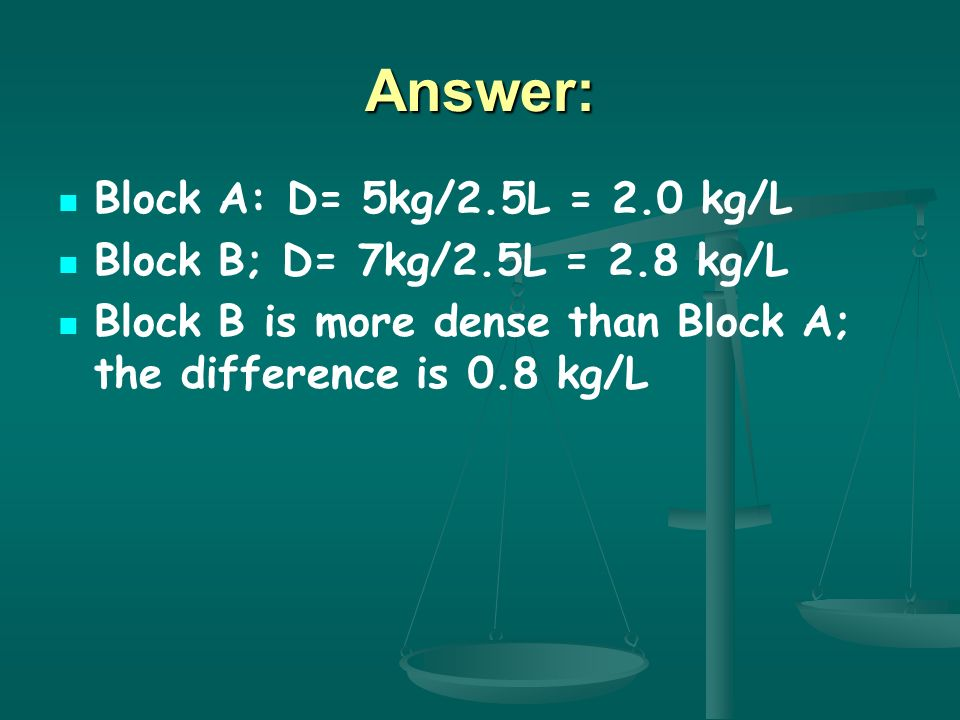 Answer: Block A: D= 5kg/2.5L = 2.0 kg/L