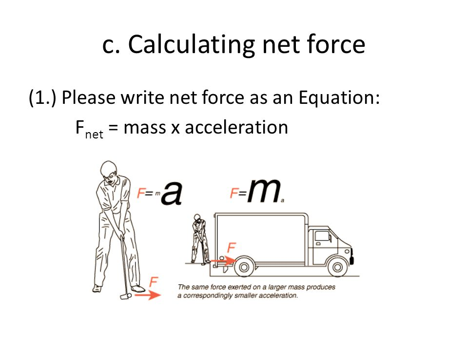 c. Calculating net force