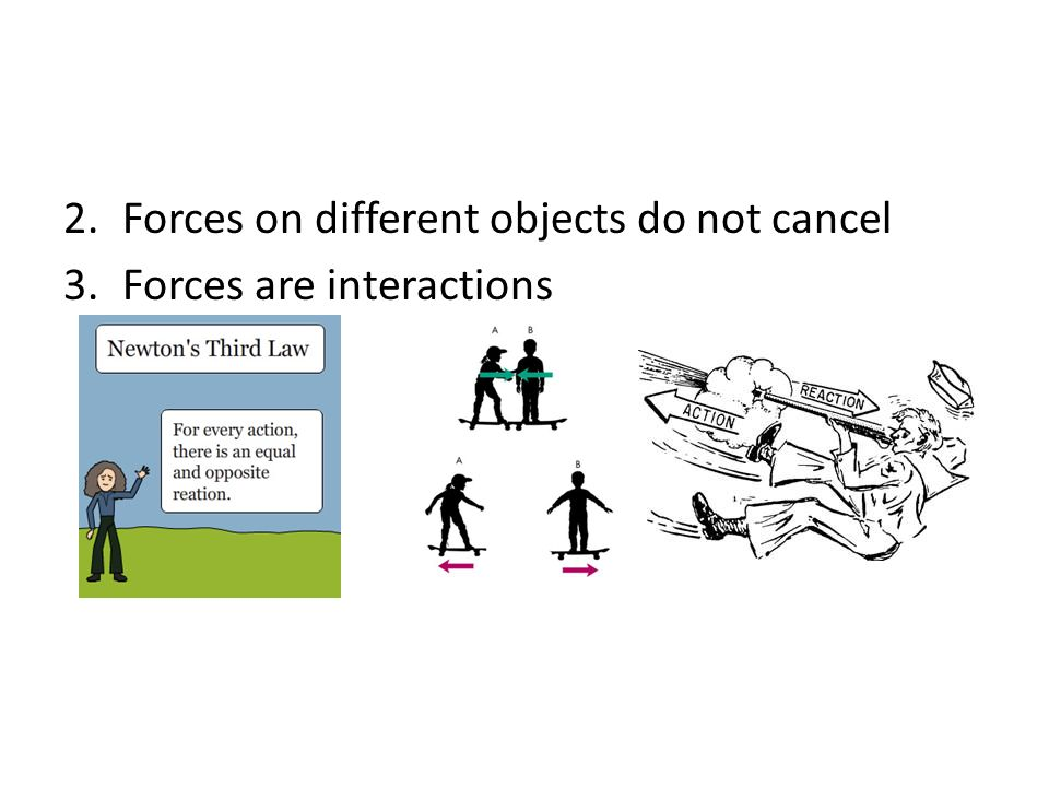 Forces on different objects do not cancel