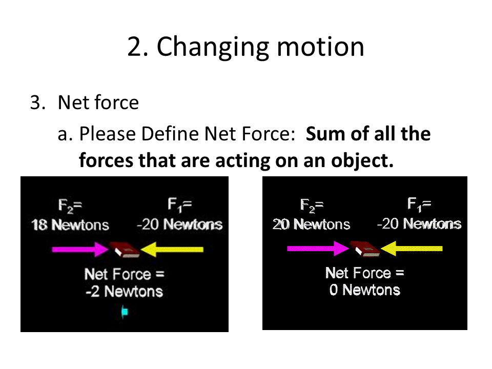 2. Changing motion Net force