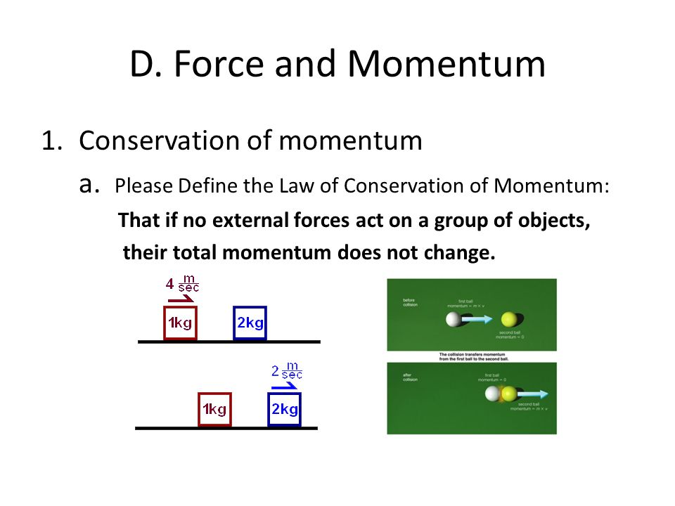 D. Force and Momentum Conservation of momentum