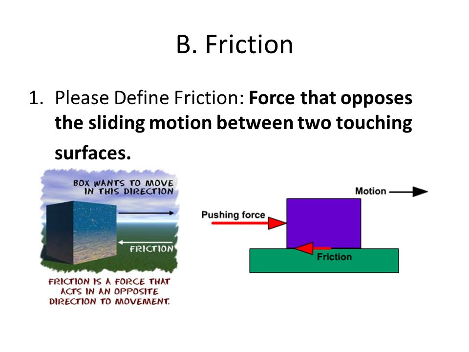 B. Friction Please Define Friction: Force that opposes the sliding motion between two touching.