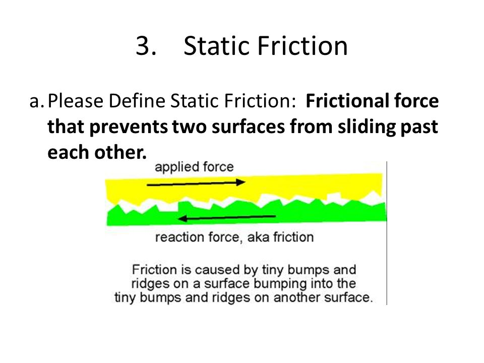 3. Static Friction a. Please Define Static Friction: Frictional force that prevents two surfaces from sliding past each other.