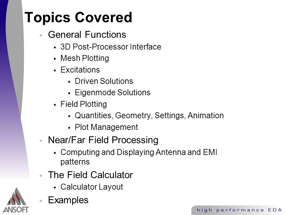 Ansoft HFSS 3D Post Processor and Calculator - ppt video