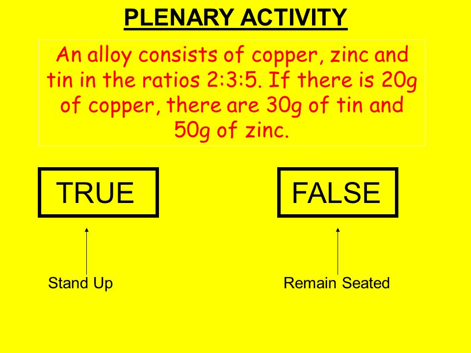 TRUE FALSE PLENARY ACTIVITY