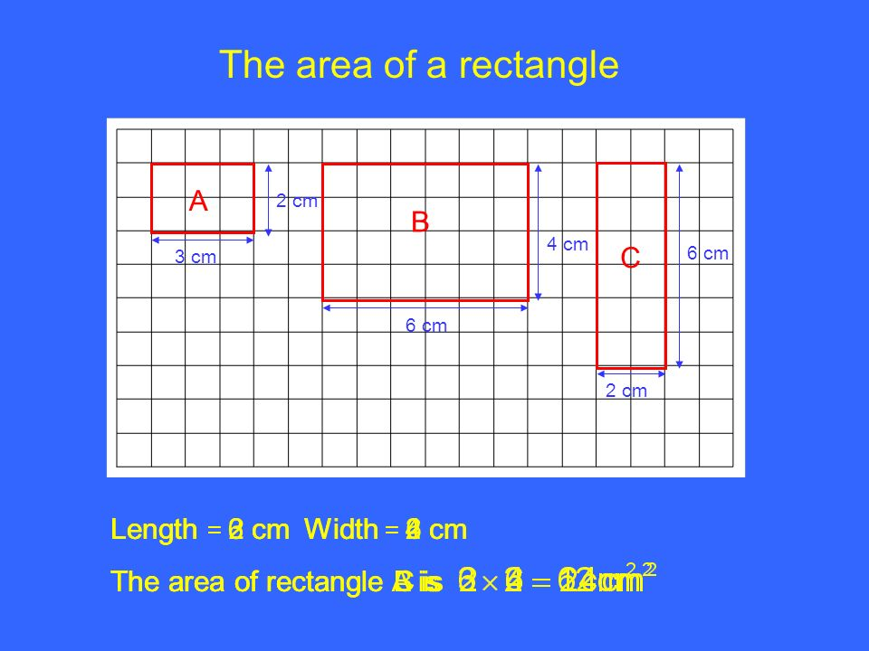 The+area+of+a+rectangle+A+B+C+Length+%3D+2+cm+Width+%3D+6+cm