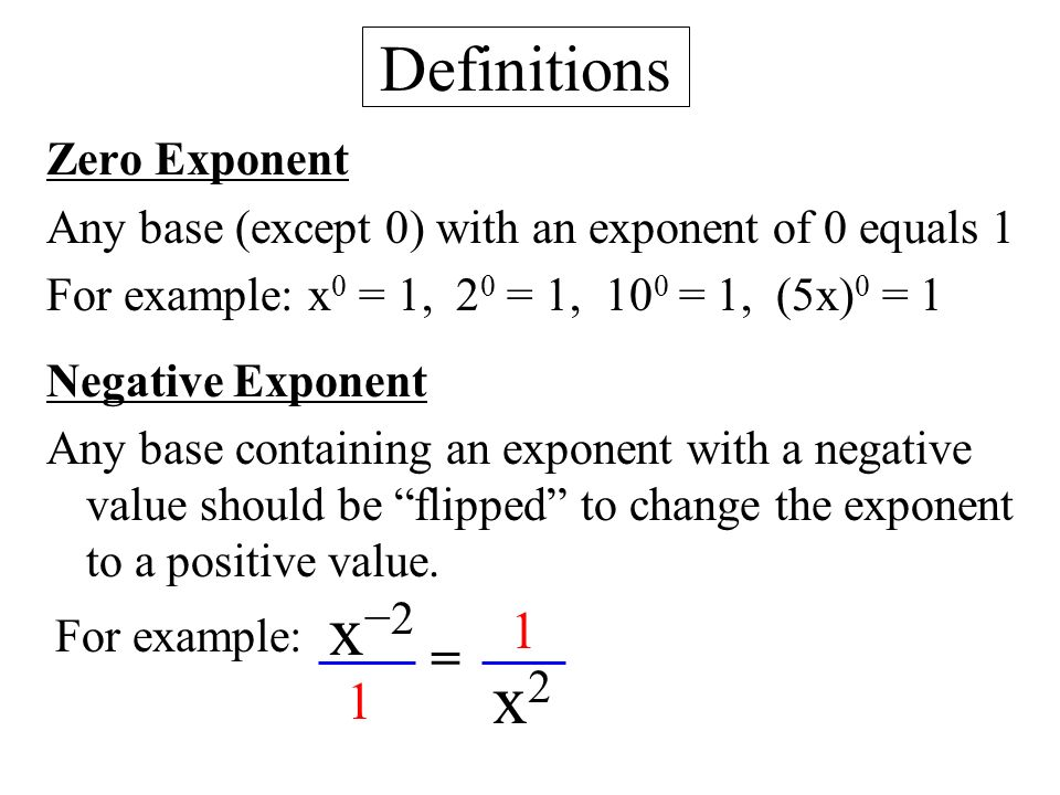 Negative Exponents Exles Choice Exle Cover Letter For. Ch 8 Exponents B Zero Negative Ppt Video Online Download. Worksheet. 8 2 Zero And Negative Exponents Worksheet At Clickcart.co
