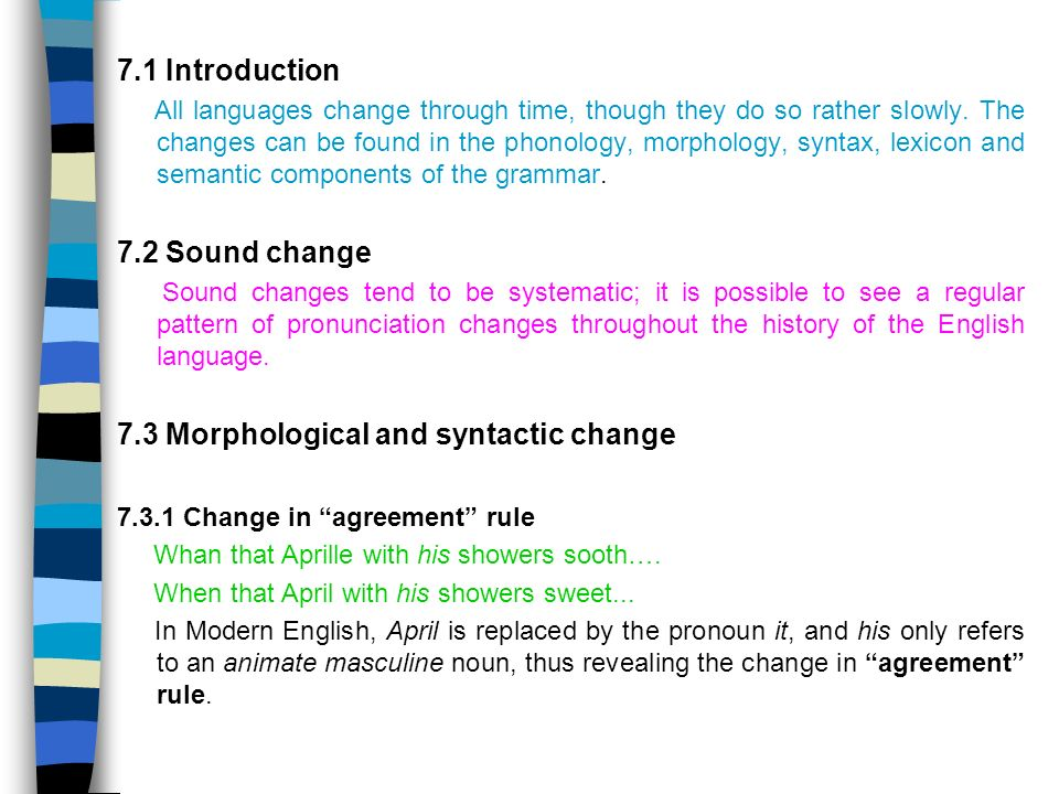 7 3 Morphological And Syntactic Change