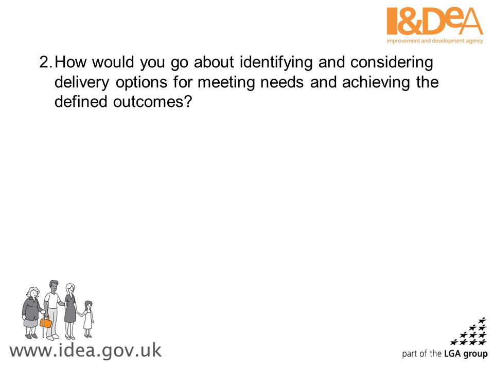 How would you go about identifying and considering delivery options for meeting needs and achieving the defined outcomes