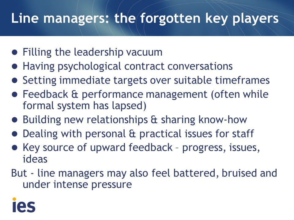 Line managers: the forgotten key players