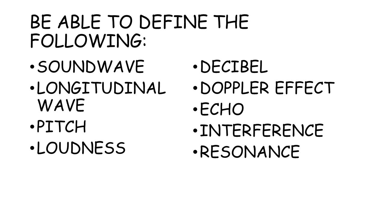 BE ABLE TO DEFINE THE FOLLOWING: