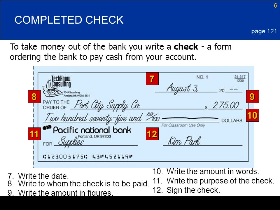 COMPLETED CHECK page 121. To take money out of the bank you write a check - a form ordering the bank to pay cash from your account.