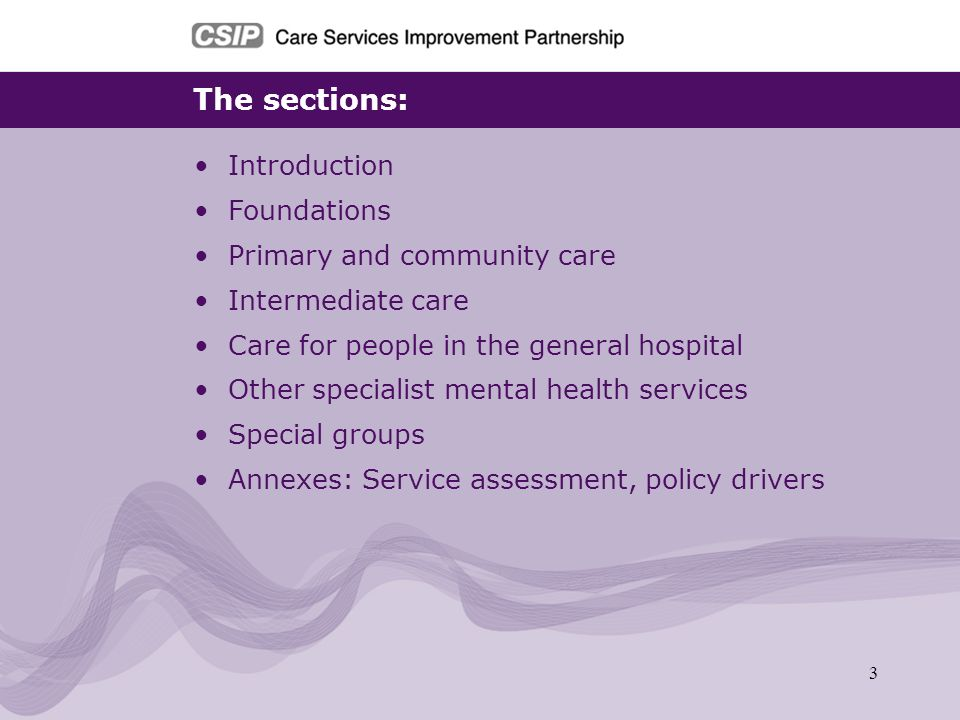 The sections: Introduction Foundations Primary and community care