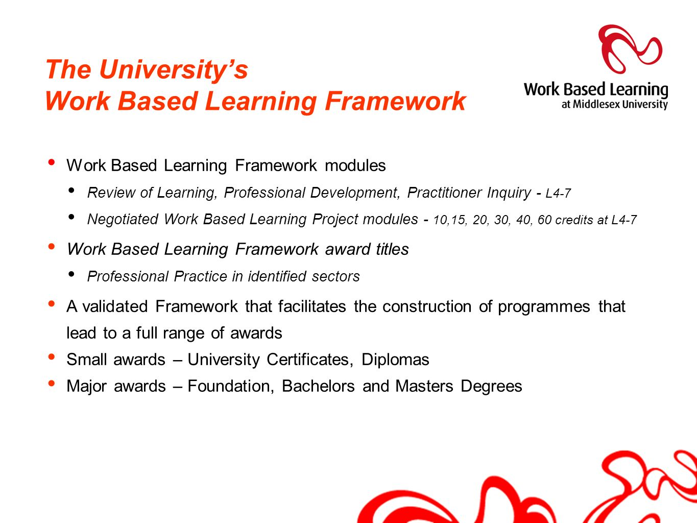 The University's Work Based Learning Framework