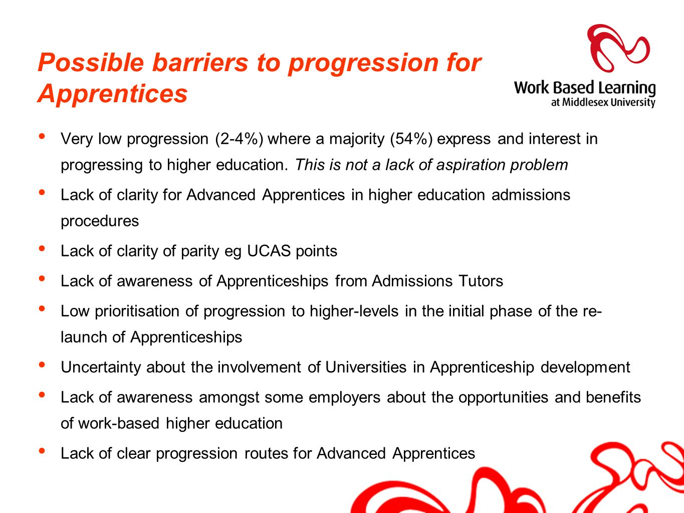 Possible barriers to progression for Apprentices