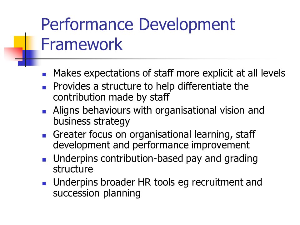 Performance Development Framework