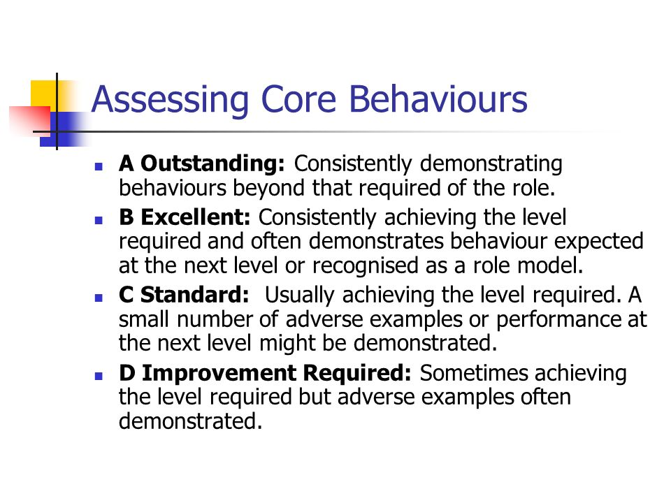 Assessing Core Behaviours