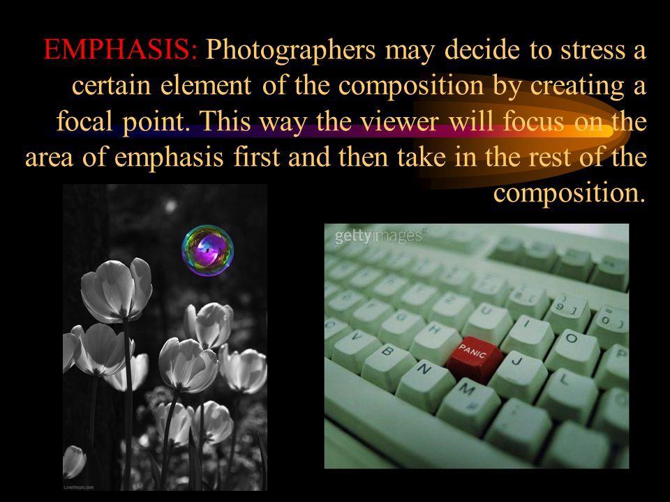 EMPHASIS: Photographers may decide to stress a certain element of the composition by creating a focal point.