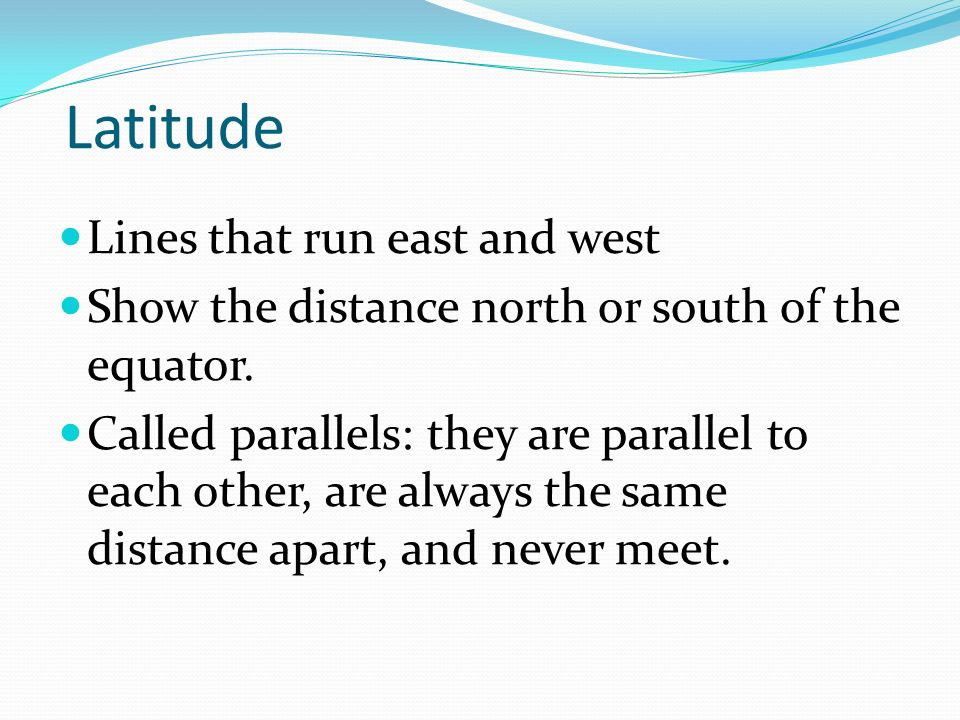 Latitude Lines that run east and west