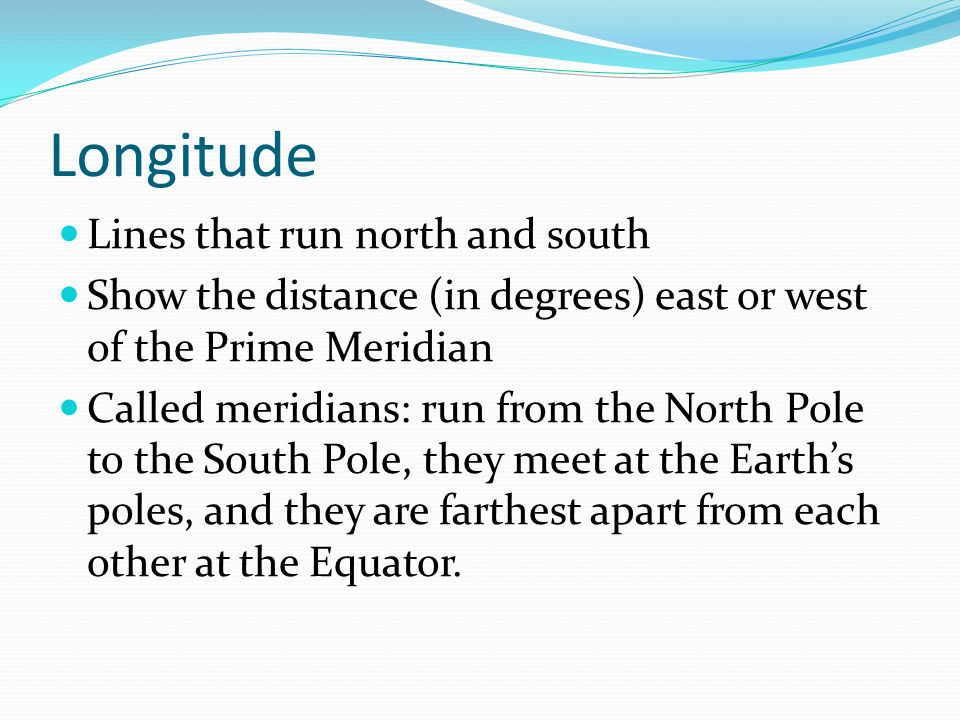 Longitude Lines that run north and south