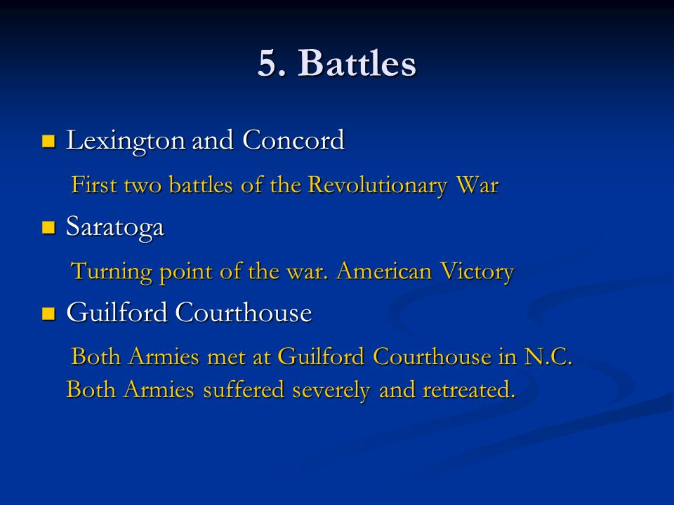 5. Battles Lexington and Concord