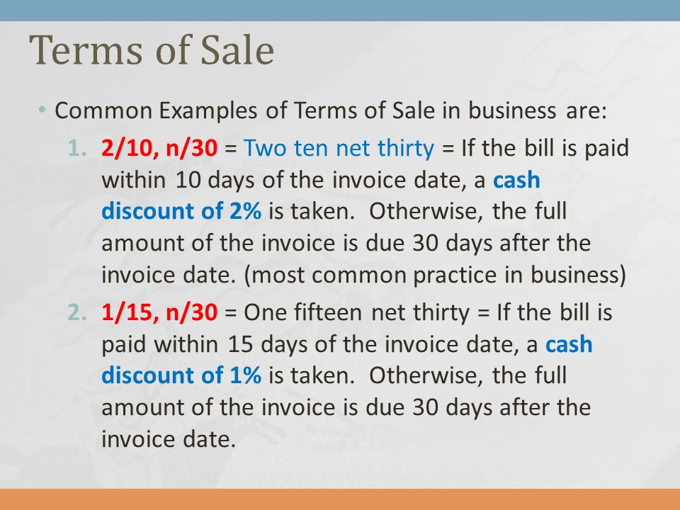 Chapter Accounting For Merchandising Operations Ppt Download - Invoice 30 day terms