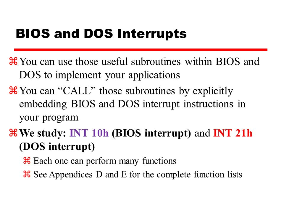 Lecture 10 Bios And Dos Programming Ppt Video Online Download