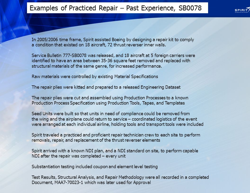 Examples of Practiced Repair – Past Experience, SB0078