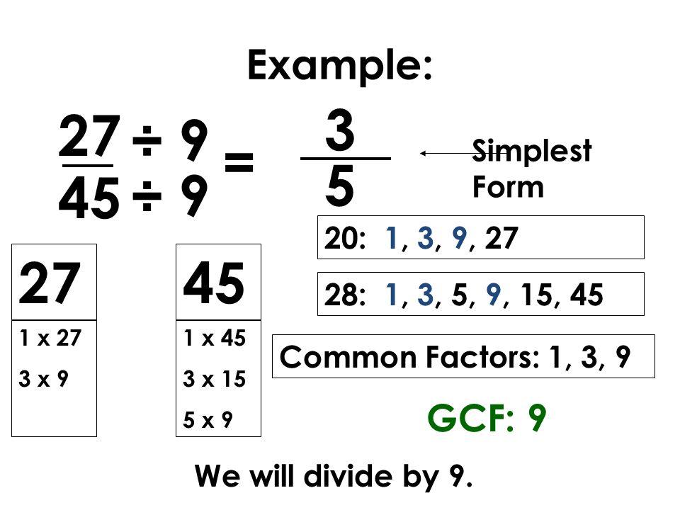 simplest form 9/15  Mrs. Ennis Equivalent Fractions Lesson Twenty - ppt video ...