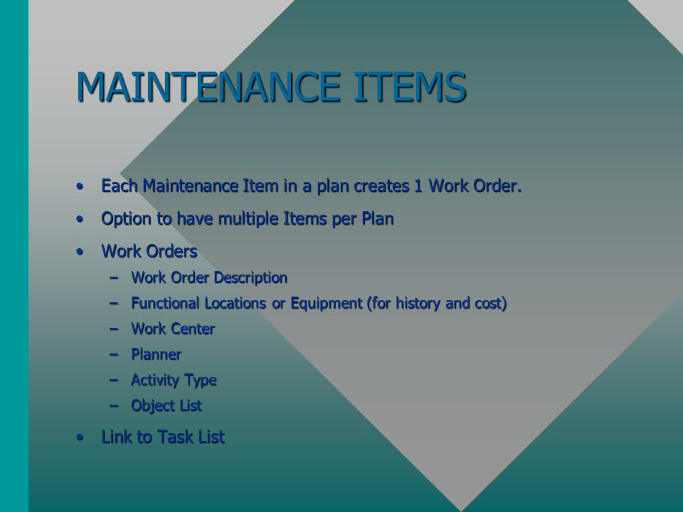 maintenance items - Hadi palmex co