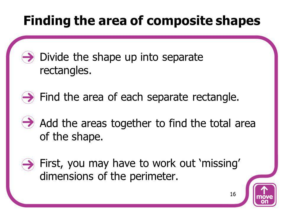 Finding the area of composite shapes