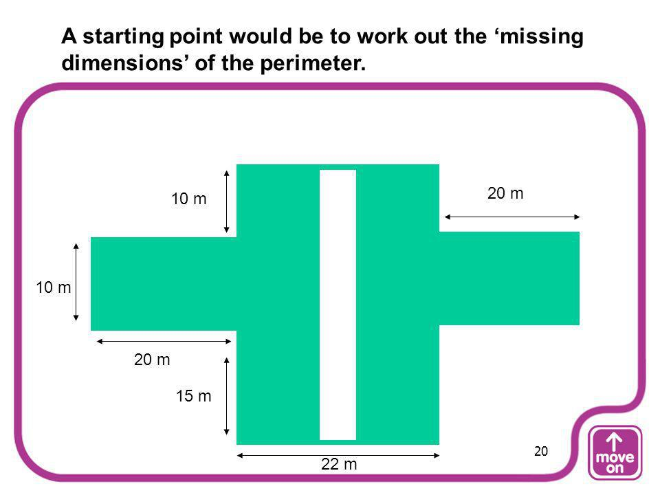 A starting point would be to work out the 'missing dimensions' of the perimeter.