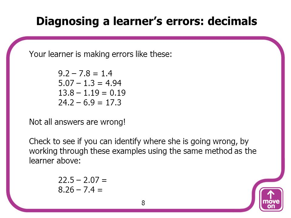 Diagnosing a learner's errors: decimals