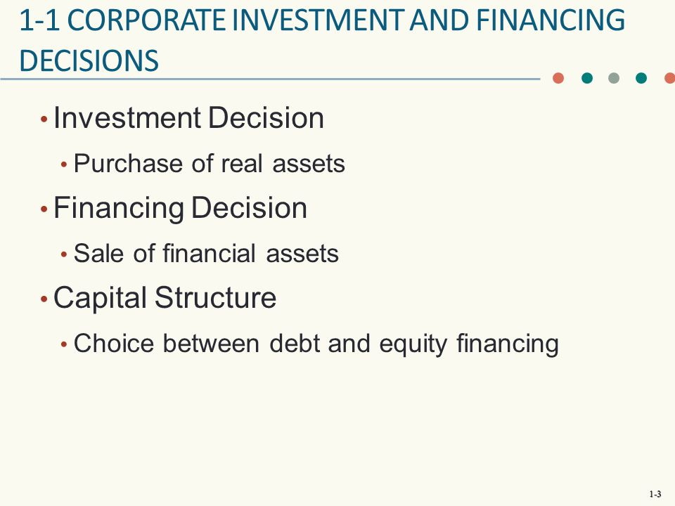 1 Corporate Investment And Financing Decisions
