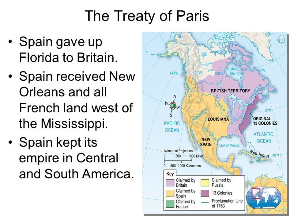 The Treaty of Paris Spain gave up Florida to Britain.