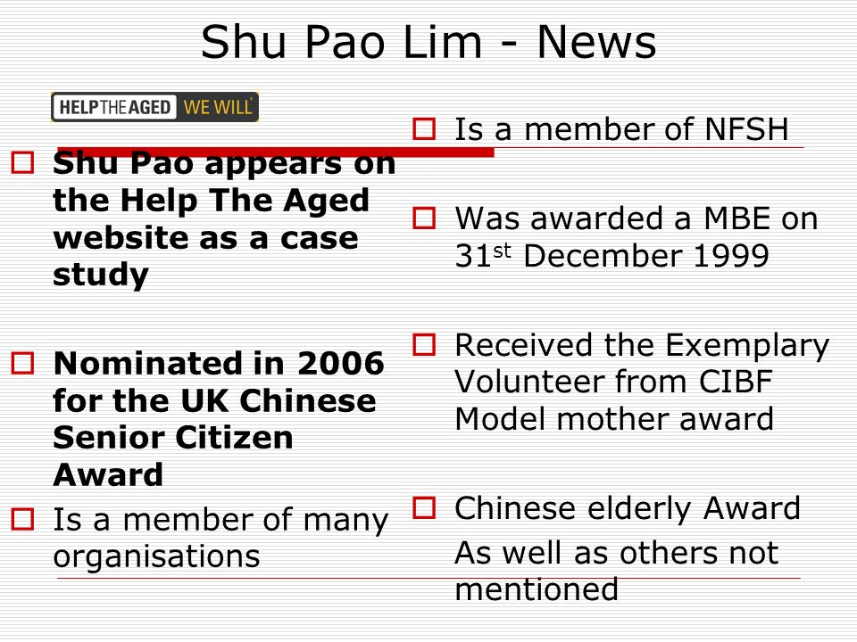 Shu Pao Lim - News Is a member of NFSH