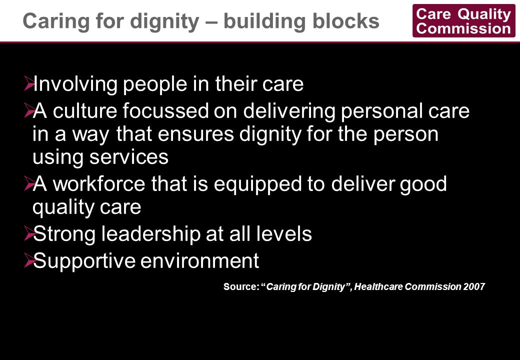 Caring for dignity – building blocks
