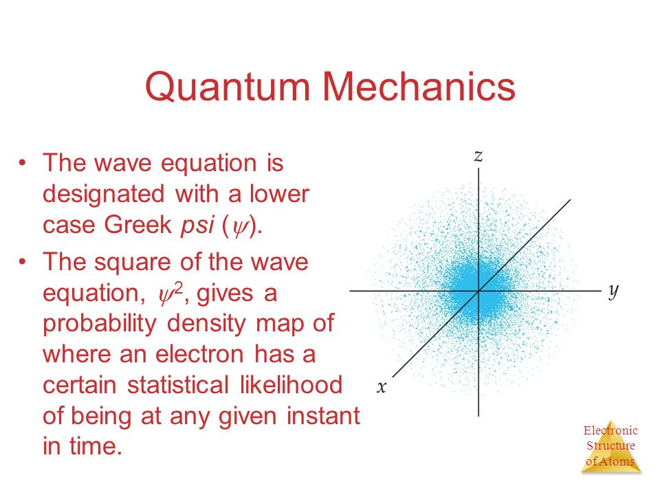 Quantum Mechanics The wave equation is designated with a lower case Greek psi ().