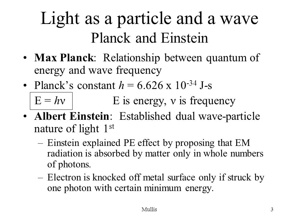 Light as a particle and a wave Planck and Einstein