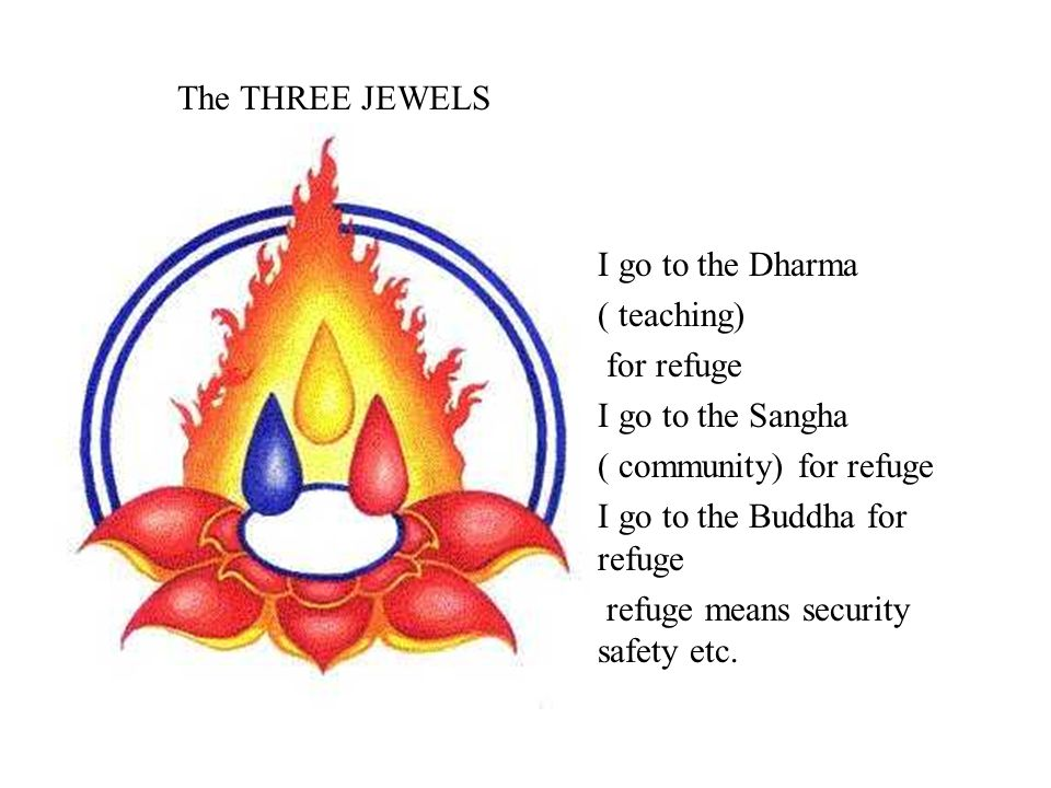 The THREE JEWELS I go to the Dharma. ( teaching) for refuge. I go to the Sangha. ( community) for refuge.