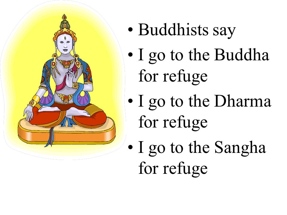 Buddhists say I go to the Buddha for refuge. I go to the Dharma for refuge.