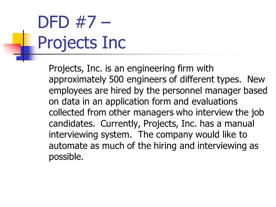 DFD #7 – Projects Inc