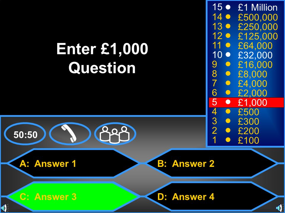Enter £1,000 Question 15 £1 Million 14 £500,000 13 £250,000 12
