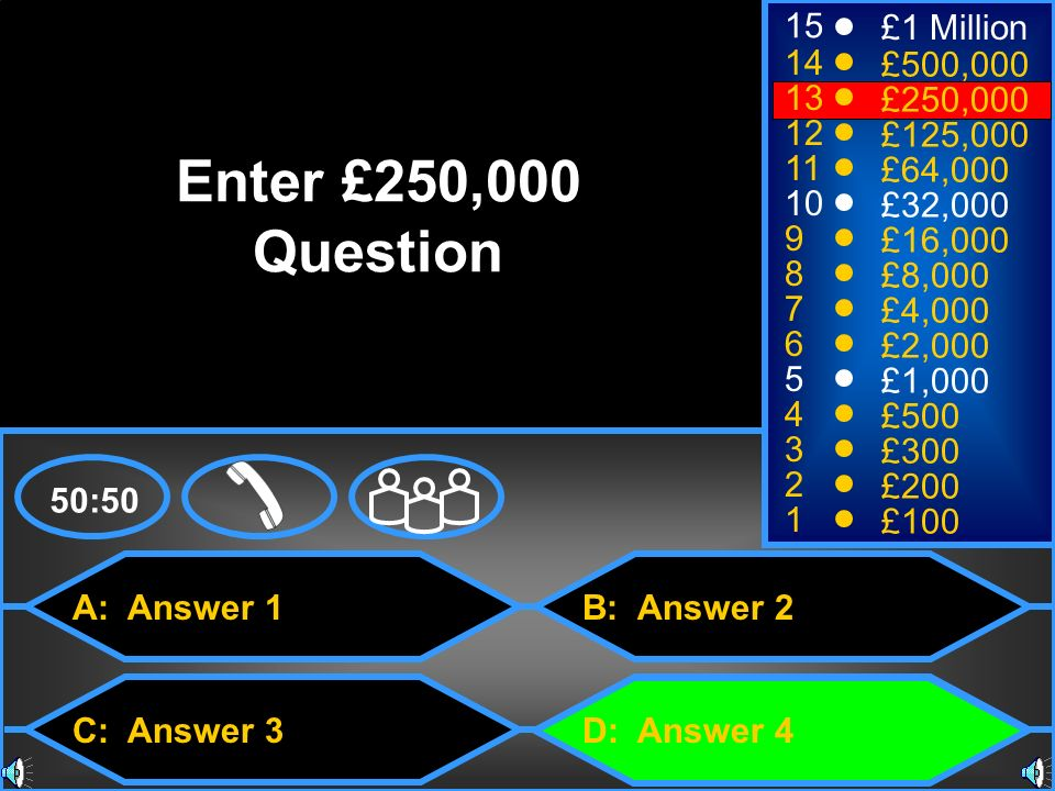 Enter £250,000 Question 15 £1 Million 14 £500,000 13 £250,000 12