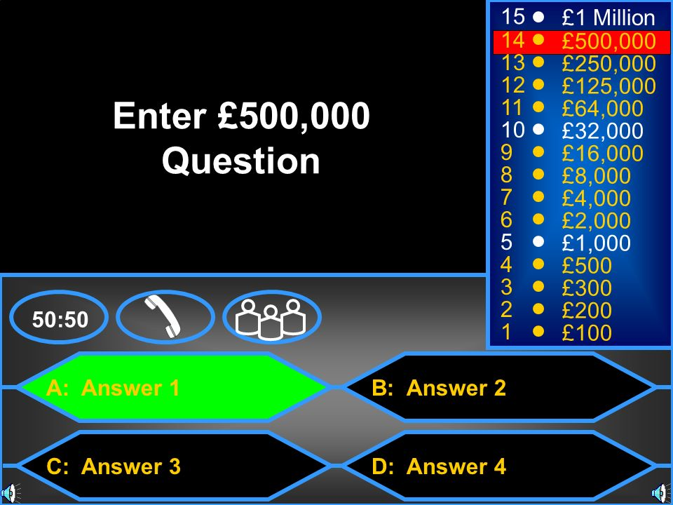 Enter £500,000 Question 15 £1 Million 14 £500,000 13 £250,000 12