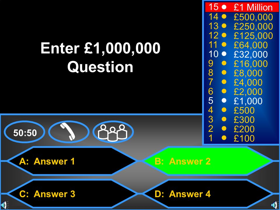 Enter £1,000,000 Question 15 £1 Million 14 £500,000 13 £250,000 12