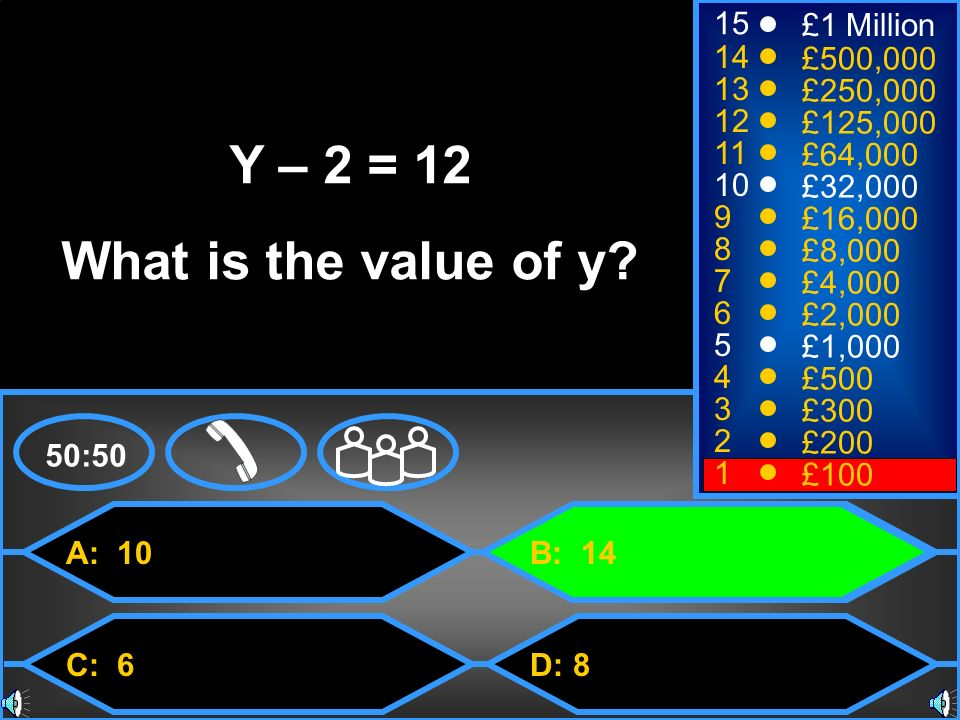 Y – 2 = 12 What is the value of y