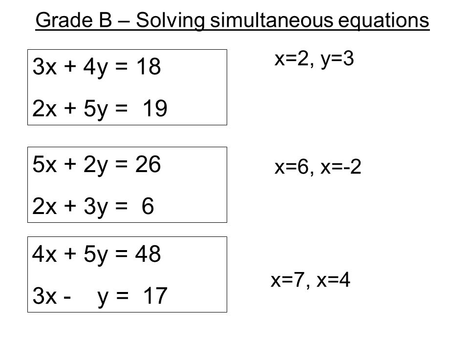 Grade B – Solving simultaneous equations