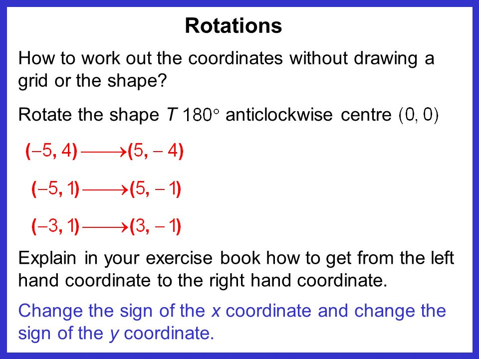 Rotations How to work out the coordinates without drawing a grid or the shape Rotate the shape T.